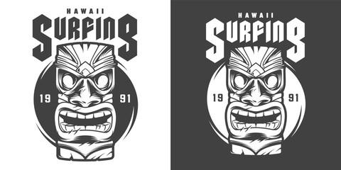 Vintage monochrome surfing sport print