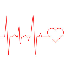 Heart rate cardiogram uses a red line with a white background and a love icon on the right
