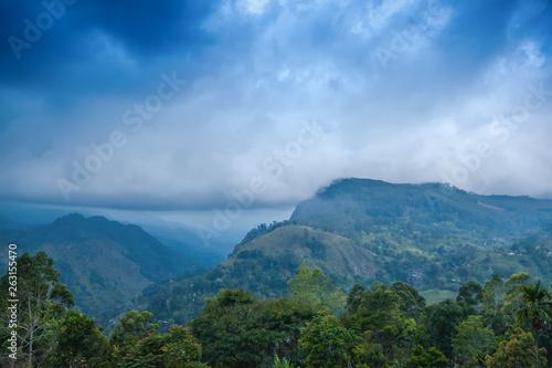 6bf55c452994 Ella mountain view. Travel to Sri Lanka. Natural beautiful summer landscape.