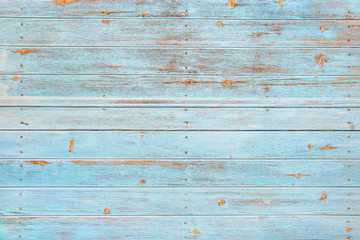 Papiers peints Bois Vintage beach wood background - Old weathered wooden plank painted in turquoise or blue sea color.