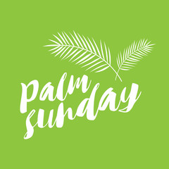 palm sunday text in green background