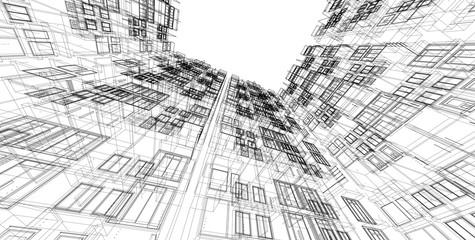 Aluminium Prints Art Studio 3D illustration architecture building perspective lines.