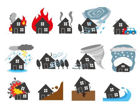 自然災害 イメージ 住宅 保険 マイホーム シルエット
