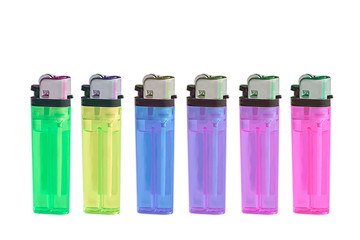 Isolated Multiple colors lighter on white background. with clipping path.