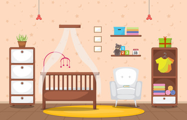 Baby Toddler Children Bedroom Interior Room Furniture Flat Design