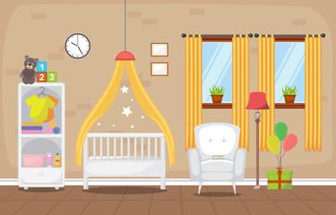 Baby Toddler Children Bedroom Interior Room Furniture Flat Design