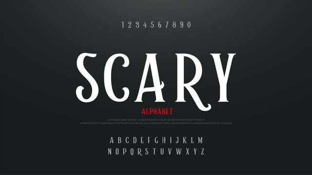 Scary movie alphabet font. Typography horror designs concept. vector illustration