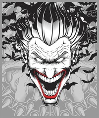 lucifer,evil,demon,joker hand drawing vector