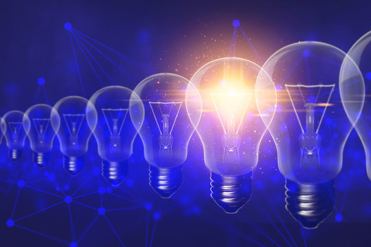 lightbulb with cloud hologram ai technology, molecule of chemical, atom cell science, futuristic cyber network system blue background illustration 3d rendering, data deep learning robotic