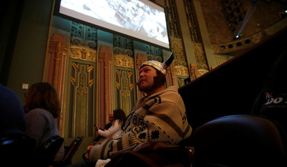 Concertgoer Thompson waits before the Lebowski Fest concert at The Wiltern theatre in Los Angeles