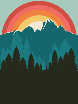 Forest near mountain poster