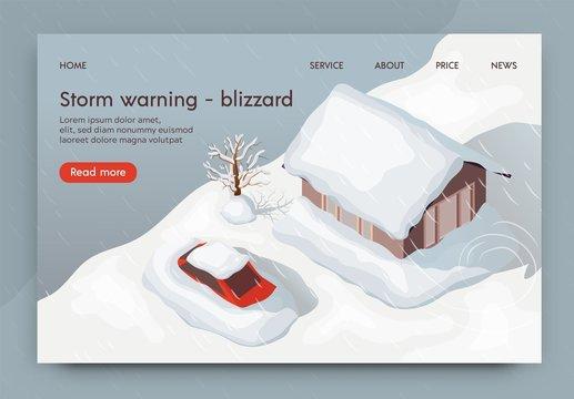 Vector Illustration Storm Warning Blizzard 3d.