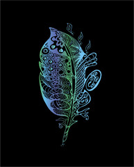 Color neon illustration with stylized feathers with doodle patterns.