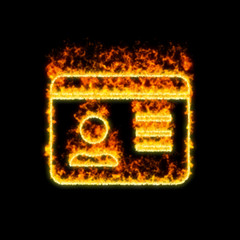 The symbol id card burns in red fire