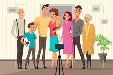 Family taking group photo vector illustration