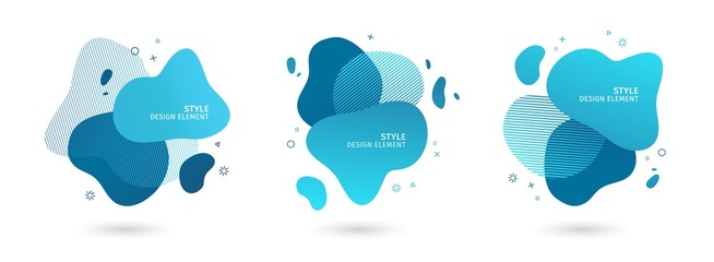 Set of abstract modern graphic elements. Dynamical blue forms and line. Gradient abstract banners with flowing liquid shapes. Template for the design of a logo, flyer or presentation. Vector