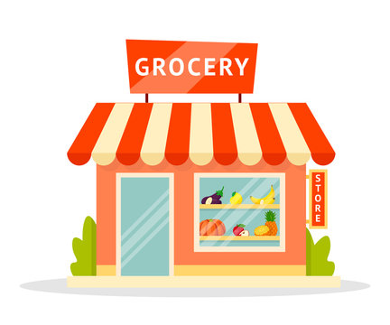 Grocery shop facade flat illustration