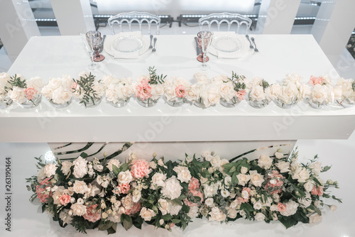 The Table Of Newlyweds Small Flower Arrangements In Ball Gl Vases Interior Restaurant For Wedding Dinner Ready Guests Catering Concept
