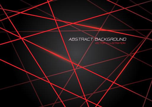 Abstract red line light laser cross overlap on dark grey design modern technology futuristic background vector illustration.