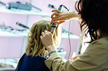 Hair Stylist Making Curls