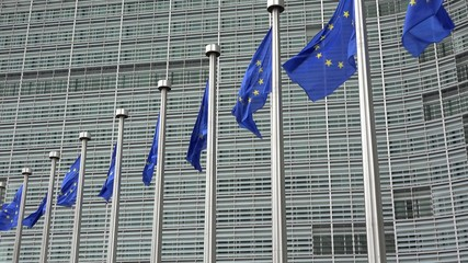 EU flags waving in front of European Commission