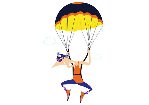 Cartoon skydiver isolated illustration. Comic skydiver derives enjoyment from jumping isolated on white