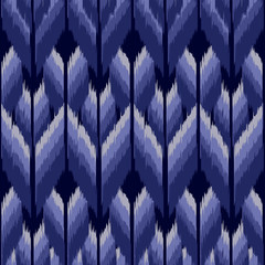 Ikat seamless pattern  as cloth, curtain, textile design, wallpaper, surface texture background. Vector illustration.