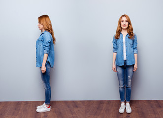 Collage from two sides of nice charming elegant lady standing focused concentrated dream dreamy shape slim wear modern youth outfit long hair white sneakers over grey background