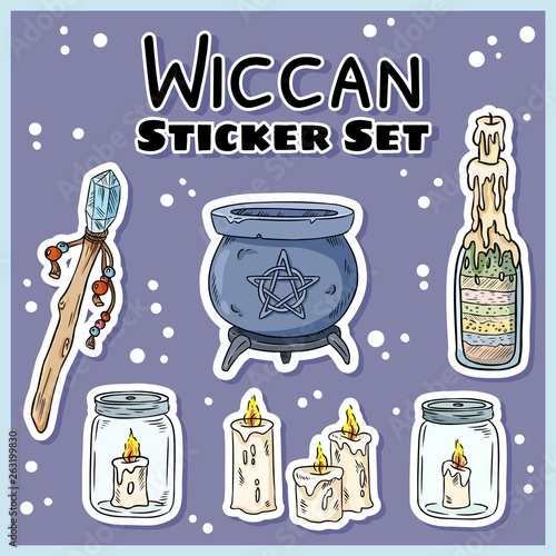 Wiccan stickers set  Collection of witchcraft labels  Witch