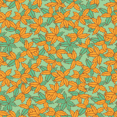 Vector green and orange hand drawn leaves repeat pattern. Suitable for gift wrap, textile and wallpaper.