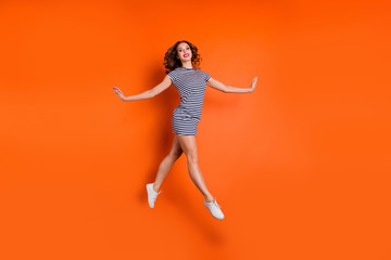 Wall Mural - Full length body size photo of pretty graceful tender elegant sporty sportive sport having weekend she her lady dancing in air isolated bright vivid background