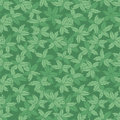 Vector green monotone hand drawn leaves repeat pattern. Suitable for gift wrap, textile and wallpaper.