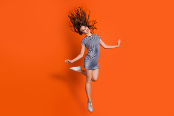 Wall Mural - Full length body size photo of pretty charming gorgeous lovely sweet dancing elegant romantic graceful sporty sportive flexible she her lady isolated vivid background