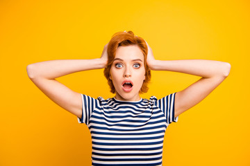 Close up photo beautiful amazing she her lady hands arms raised head yell scream shout oh no eyes full fear wearing casual striped white blue t-shirt outfit clothes isolated yellow bright background