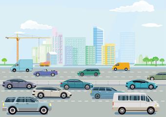 Autobahn mit Stadt