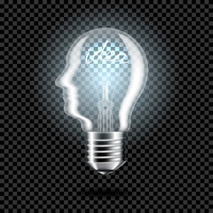 Wall Mural - Realistic transparent light bulb with word idea for dark background, isolated.