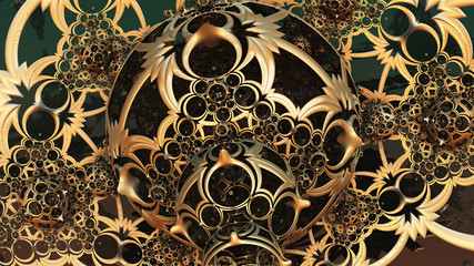 Abstract background, fantastic 3D gold structures.