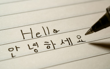 Beginner Korean language learner writing Hello word Annyeonghaseyo in Korean characters on a...