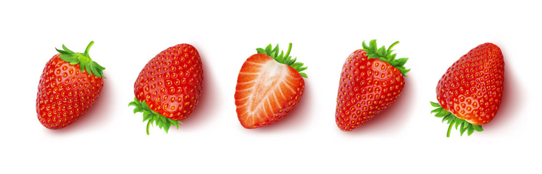 Strawberry isolated on white background with clipping path, top view