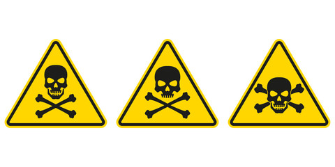 Hazard or warning sign set with skull and bones. Toxic and chemical poison symbol. Triangle Caution icon. Vector illustration.
