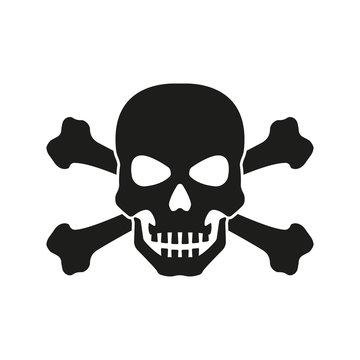 Skull with crossed bones icon. Death, pirate and danger symbol. Skeleton head. Vector illustration.