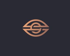 Eye vector logo. Camera vision line linked logotype.