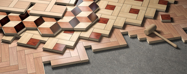 Obraz Wood parquet laid on the floor. House construction and renovation concept. - fototapety do salonu