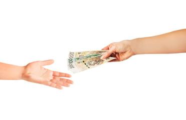 Obraz 500+ Dawanie pieniędzy, wsparcie finansowe pożyczka - fototapety do salonu