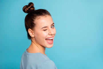 Close up photo of charming magnificent youth millennial amazed laugh feel glad have holidays weekends isolated wear spring fashionable clothes on colorful background