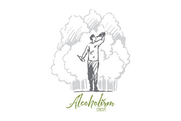 Alcoholism, man, drunk, bottle, alcoholic concept. Hand drawn isolated vector.