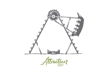 Attraction, park, fair, entertainment, amusement concept. Hand drawn isolated vector.