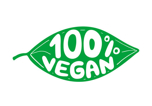 Green leaf with rubber stamp effect and hand lettering of the text 100 vegan