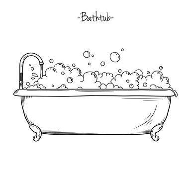 Sketch bath with tap and foam. Vector illustration
