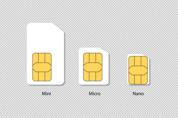 Sim cards isolated. Mini micro nano technology. Phone chip with shadow on transparent background.